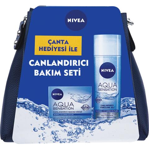 Nivea Canlandırıcı Bakım Seti Çanta Hediyeli Aqua Yüz Temizleyici Jeli 200 ml + Bakım Kremi 50ml