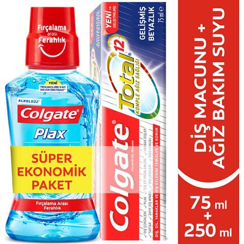 Colgate Total Gelişmiş Beyazlık Diş Macunu 75ml + Colgate Plax Gargara 250ml