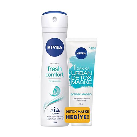 Nivea Deodorant Fresh Comfort Kadın + Urban Mavi Detox Maske 75ml Hediye