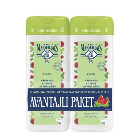 Le Petit Marseillais Organik Karpuz ve Fesleğen Duş Jeli 400 ml + 400 ml 2'li