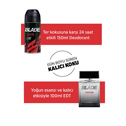 Blade Faster Erkek Parfüm Seti Edt 100ml + 150ml Deodorant Men Kofre Set