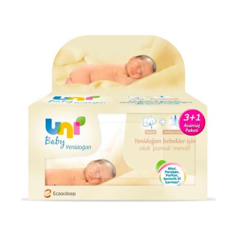 Uni Baby Yenidoğan Islak Pamuk Mendil 3+1 Fırsat Paketi 160 Yaprak