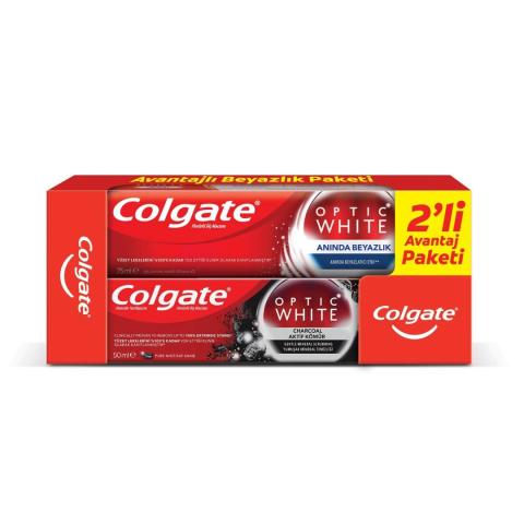 Colgate Optic White Anında Beyazlık 75ml + Aktif Kömür 50 ml 2'li