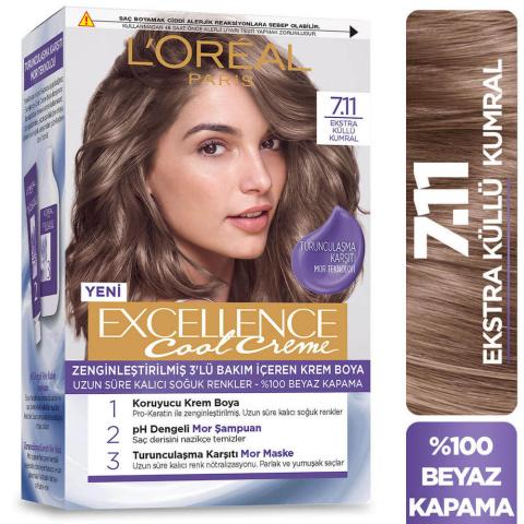 Loreal Excellence Saç Boyası Cool 7.11 Exstra Küllü Kumral