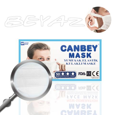 Canbey Yumuşak Elastik Kulaklı Cerrahi Beyaz Maske 50li Paket