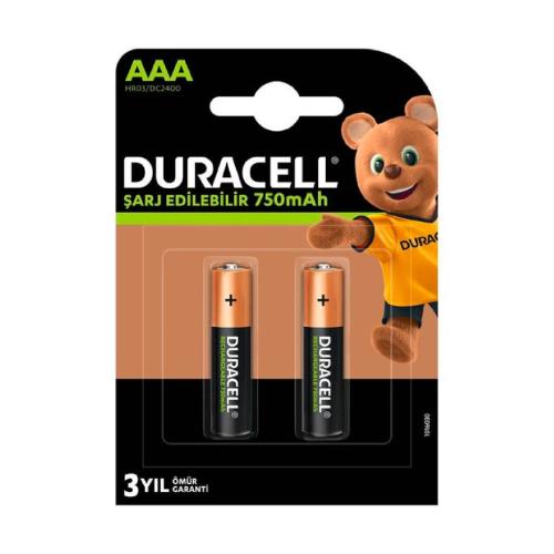 Duracell Şarj Edilebilir AAA İnce Pil 750 mAh 2'li