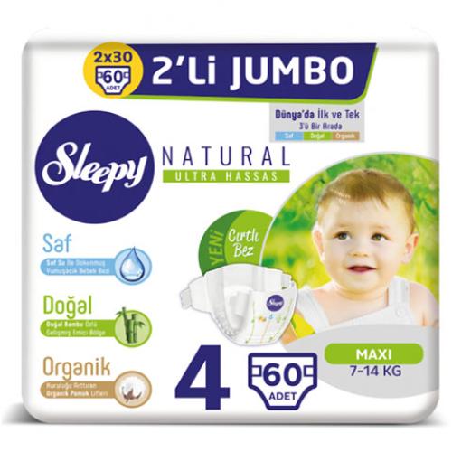 Sleepy Bebek Bezi İkili Jumbo 4 Beden 60lı Natural