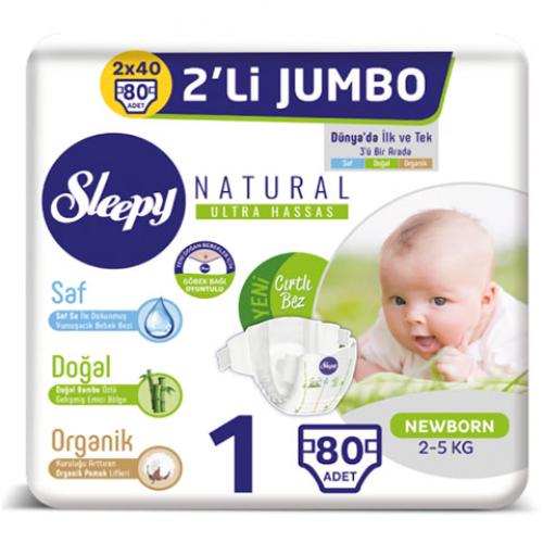 Sleepy Bebek Bezi İkili Jumbo 1 Beden 80li Yeni Doğan Natural
