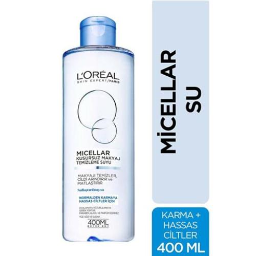Loreal Paris Normal & Karma ve Hassas Ciltler için Micellar Kusursuz Makyaj Temizleme Suyu 400 ml