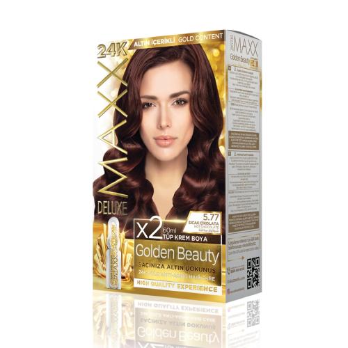 Maxx Deluxe Golden 24k 5.77 Sıcak Çikolata Altın İçerikli Saç Boyası